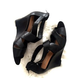 Nine West Black Leather Wedge Heel